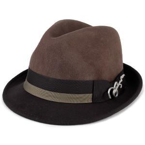 フェルト ハット 帽子 メンズ カルロス サンタナ 2トーン ショートブリム フェドラ ギターバッジ 中折れ トープ ブラウン|elehelm-hatstore