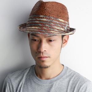 春夏 ハット Carlos Santana 帽子 メンズ カルロスサンタナ ラフィアとブレードのミックスブレードハット ブラウン|elehelm-hatstore
