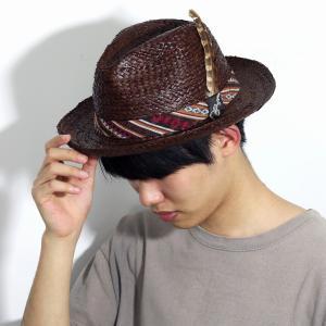 麦わら帽子 インポート CARLOS SANTANA メンズ レディース 春 夏 ラフィア ハット 中折れ 帽子 インディアン カルロス サンタナ 茶 ブラウン|elehelm-hatstore