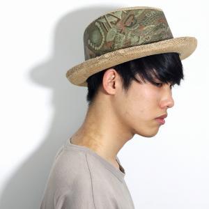 春 夏 帽子 メンズ 中折れ帽 涼しい ジュート素材 麻 インポート プリント柄 CARLOS SANTANA カルロス サンタナ ナチュラル|elehelm-hatstore