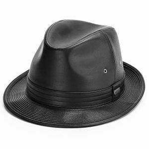 STETSON ゴートスキン 中折れハット BL型 サイズ調整可 ハット ロイヤルステットソン 送料無料 帽子 オールシーズン レザーハット メンズ ブラック elehelm-hatstore