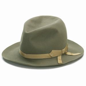 STETSON ビーバーフェルト ハット 高級 オープンクラウン 中折れ  ボーラー 秋冬 帽子 メンズ ステットソン シンプル 日本製 ライトオリーブ|elehelm-hatstore