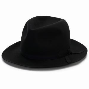 帽子 メンズ ステットソン オープンクラウン ハット ビーバーフェルト 高級 STETSON 中折れ ボーラー 秋冬 帽子 フォーマル 日本製 黒 チャコールグレー|elehelm-hatstore