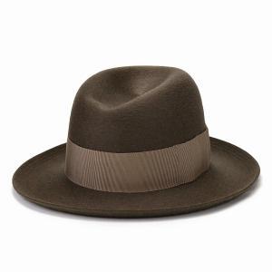 STETSON ファーフェルト ハット 帽子 高級 オープンクラウン ボーラー 秋冬 中折れハット メンズ ステットソン マウンテンハット 日本製/ダークベージュ|elehelm-hatstore