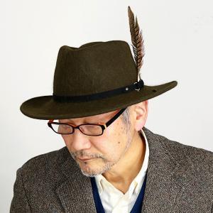 メンズ ワイドブリム ハット 送料無料 STETSON 中折れハット 秋冬 ステットソン ウール フェルト 帽子 日本企画 羽根付きスエードベルト カーキ|elehelm-hatstore