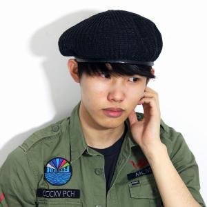 アーミーベレー 春夏 帽子 レディース メンズ ベレー ユニセックス ベレー帽 サマーニット 麻 リブ 57.5cm ブラック 黒|elehelm-hatstore