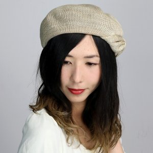 春夏 ベレー帽 ボーダー柄 リボン レディース ボーダー ニット ガーリッシュ かわいい 帽子 ベレー  ベージュ|elehelm-hatstore