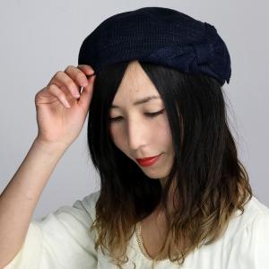 ボーダー柄 春夏 ベレー帽 リボン レディース ボーダー ニット ガーリッシュ かわいい 帽子 ベレー  紺 ネイビー|elehelm-hatstore