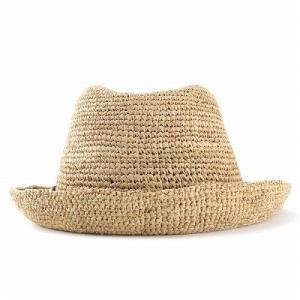 麦わら帽子 ハット メンズ ハット レディース ストローハット レディス 中折れハット ラフィア 大きい 大きいサイズあり ベージュ|elehelm-hatstore|04