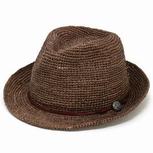 ストローハット ハット メンズ レディース 麦わら帽子 中折れハット 夏 56cm 58cm 60cm 62cm ラフィアハット 茶色 ブラウン|elehelm-hatstore