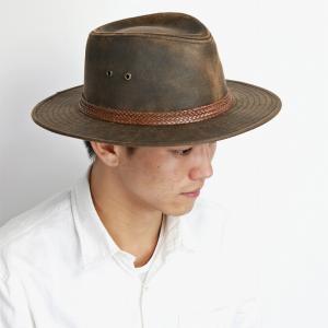 STETSON オールシーズン カウボーイハット メンズ ユーズド風 レザー風 ステットソン Distressed twill ダメージ加工 カジュアル 帽子 ブランド ブラウン elehelm-hatstore
