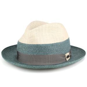 春夏 ファッション 帽子 tesi イタリア ハット 2トーン ラフィア 麻 テシ 帽子 ブランド ストローハット メンズ アイボリー グリーン|elehelm-hatstore