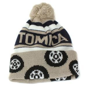 帽子 ニット 帽子 ワッチ ボンボンニット帽 キッズ 子供用 トミカ あったかニット帽 キッズファッション ベージュ|elehelm-hatstore