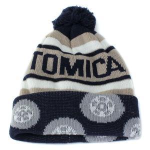 帽子 ニット 帽子 ワッチ ボンボンニット帽 キッズ 子供用 トミカ あったかニット帽 キッズファッション ネイビー|elehelm-hatstore
