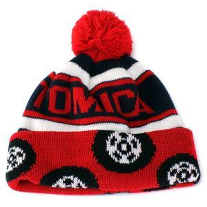 帽子 ニット 帽子 ワッチ ボンボンニット帽 キッズ 子供用 トミカ あったかニット帽 キッズファッション レッド|elehelm-hatstore