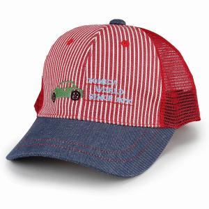 帽子 キャップ 車 タカラトミー トミカ キッズ 男の子 子ども服 赤 ヒッコリー デニム トミカ キャップ 女の子 サイズ調節可/レッド|elehelm-hatstore