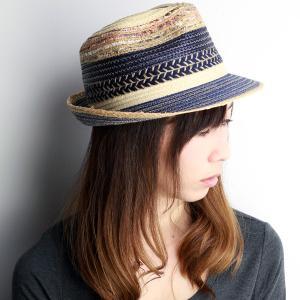 HATS & DREAMS 帽子 春夏 ストローハット ハット&ドリームズ 春夏 中折れハット MIXブレード 帽子 ネイビー|elehelm-hatstore