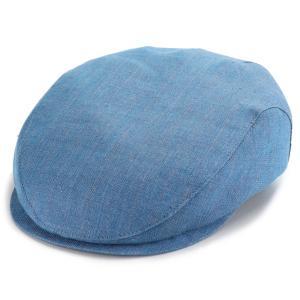 ハンチング帽 メンズ 帽子 Ivy slim cap ストライプ ウィゲン リネン100% ハンチング インポート 春夏 水色 ライトブルー|elehelm-hatstore