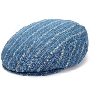 WIGENS ハンチング帽 IVY SLIM CAP 100%リネン 大きいサイズ メンズ 帽子 麻 ヴィゲン インポート 春夏 縞柄 ストライプ ブルー elehelm-hatstore