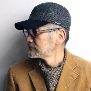 キャップ メンズ ツイード WIGENS 帽子 CAP へリンボン柄 ウィゲン イヤーフラップ付き フリース グレー|elehelm-hatstore