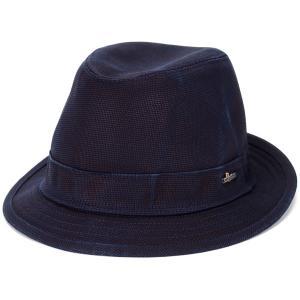 WIGENS 中折れハット ウォッシュド コットン ハット メンズ 中折れ 帽子 ヴィゲン  Trilby Classic Hat  春夏 紺 ネイビー 深紅色 緋色 スカーレット|elehelm-hatstore