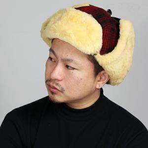 フライトキャップ レディース 飛行帽 メンズ チェック柄 Woolrich シープファー ファー帽子 ウールリッチ 帽子 トラッパー 防寒 レッド|elehelm-hatstore