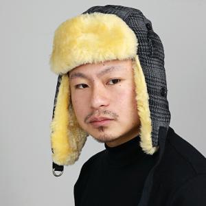 ファー帽子 ウールリッチ 飛行帽 メンズ 防寒 チェック柄Woolrich フライトキャップ レディース シープファー 帽子 トラッパー グレー|elehelm-hatstore