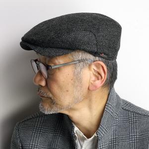 wigens ハンチング 帽子 メンズ 紳士 シンプル ヘリンボーン柄 ダンディー ヴィゲーンズ チャコールグレー|elehelm-hatstore