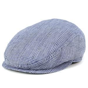 アイビーキャップ 帽子 ハンチング メンズ wigens ヴィゲン グレンチェック 麻 リネン ivy cap 紺 ネイビー系|elehelm-hatstore