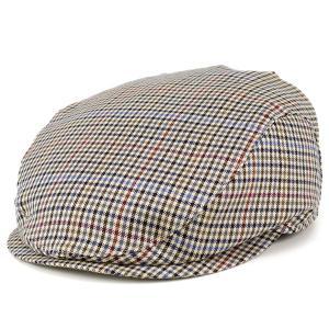 ハンチング 帽子 メンズ wigens チェック オーバーチェック ウール 薄手 春夏 ヴィゲン ivycap キャメル系|elehelm-hatstore