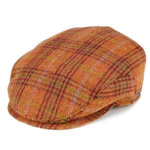 ハンチング メンズ アイビーキャップ タータンチェック 帽子 秋冬 トレンド 耳あて wigens ヴィゲーンズ チェック柄 オレンジ elehelm-hatstore