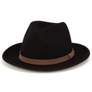 wigens ヴィゲーンズ 中折れハット メンズ 秋冬 上質な手触りのフェルトハット ワイドブリム 帽子 ブラック elehelm-hatstore