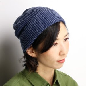 Munsingwear ニット帽 レディース ストーンウォッシュ加工 ニット帽 マンシング 帽子/ネイビー|elehelm-hatstore