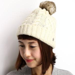 Munsingwear ニット帽 レディース ファー 正ちゃん帽 ポンポン付き ニット帽 マンシング 帽子/オフホワイト|elehelm-hatstore