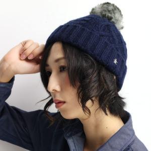 Munsingwear レディース ニット帽 ポンポン付き ファー ニット帽 マンシング 帽子 正ちゃん帽/紺|elehelm-hatstore
