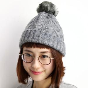 Munsingwear レディース ニット帽 ポンポン付き ファー ニット帽 マンシング 帽子 正ちゃん帽/グレー|elehelm-hatstore