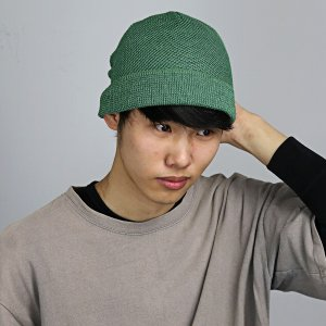 レディース サマーニット帽 涼しい帽子 ワッチ ニットワッチ Munsingwear ニット帽 春夏 サマーニット 帽子 マンシングウエア/グリーン|elehelm-hatstore