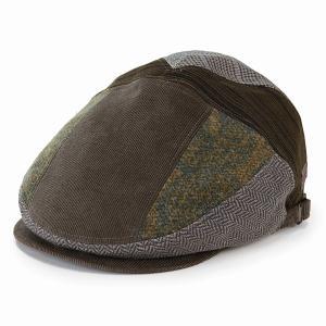 帽子 ハンチング メンズ パッチワーク milaschon ブランド ミラショーン 秋冬 コーデュロイ チェック レディース 茶 ブラウン|elehelm-hatstore