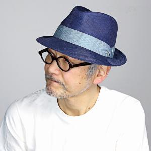 中折れハット メンズ シナマイ ミラショーン 中折れ ハット サイズ調整可 日本製 mila schon 春夏 帽子 マニラ麻 中折れ帽 ネイビー 紺|elehelm-hatstore