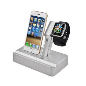 送料無料 新品●Apple watch アップルウォッチ iPhone  充電用スタンド 時計ブラケット シルバー●iphone 充電器用|elelerueru