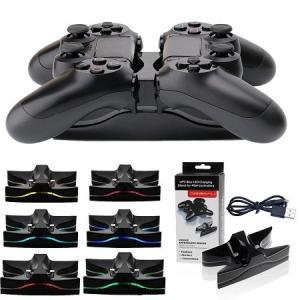 送料無料 新品●PS4 Playstation4 LEDデュアルUSBコントローラ 充電スタンド PS4コントローラ用 デュアルショック4 DUALSHOCK4|elelerueru