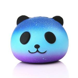 新品 送料無料●スクイーズ パンダ ブルー●低反発 ぬいぐるみ おもちゃ 動物 かわいい ストラップ 握る ストレス解消 もちもち|elelerueru