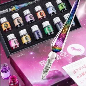 クリスタルガラスペン インク12色付き 奇幻星空 ライティング ペンのお色7種からご選択 万年筆 イ...