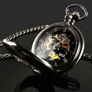 送料無料 新品●手巻き懐中時計 スケルトン 懐中時計 アナログ時計 ブラック●ローマ数字 手巻き式  手巻き式懐中時計|elelerueru