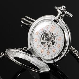 送料無料 新品●手巻き式 ハンド・ワインディング機構 懐中時計 スケルトン 懐中時計 アナログ時計 シルバー●アラビア数字|elelerueru