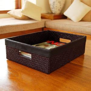 アジアン雑貨・バリ雑貨!こちらのごみ箱はレザー(革)のようにも見えますが、じつはこれパンダンという植...