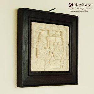 アジアン雑貨・バリ雑貨! バリ島の職人が彫って作り上げたストーンレリーフは、木製フレームが周りに囲わ...