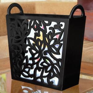 アジアン雑貨 ロータスをモチーフにした彫刻アートのマガジンラック elements
