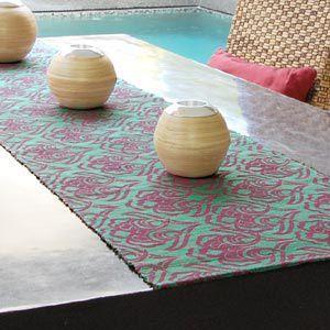 テーブルランナー ウォーターヒヤシンス製 ターコイズ×ピンク...