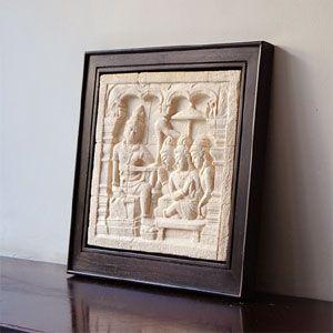 ボロブドゥール遺跡をモチーフにしたストーンレリーフ 36×36cm アジア工房|elements